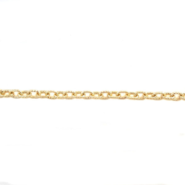 Cable Oval 9x6mm Aluminum Chain gold color, textured, non tarnish, open links (11382)