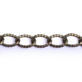 Curb Flat 17x10mm Aluminum Chain bronze color, textured, non tarnish, open links (CH-A1309)