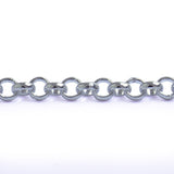 Rolo Belcher Round 4mm Aluminum Chain gold or silver color, smooth, non tarnish, open links (CH-17307)