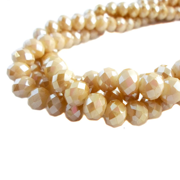 Glass Rondelle Beads AB C096 Champagne Opaque