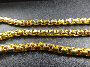 Box Square 5x5mm Aluminum Chain gold color, smooth, non tarnish (7968)