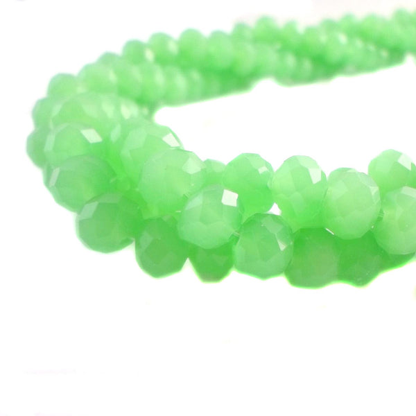 Glass Rondelle Beads E041 Opal Green