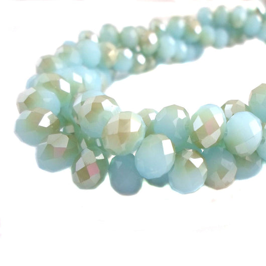 Glass Rondelle Beads D076 Aqua Silver Multicolored