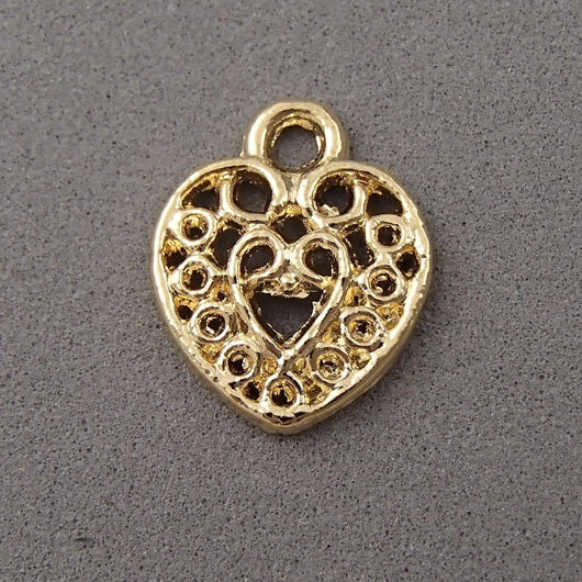 BD063 Heart 14k Gold Plated Charm