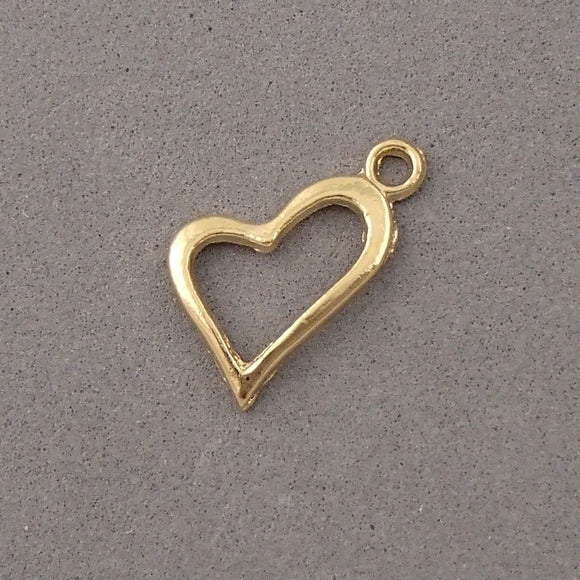 BD070 Heart 14k Gold Plated Charm
