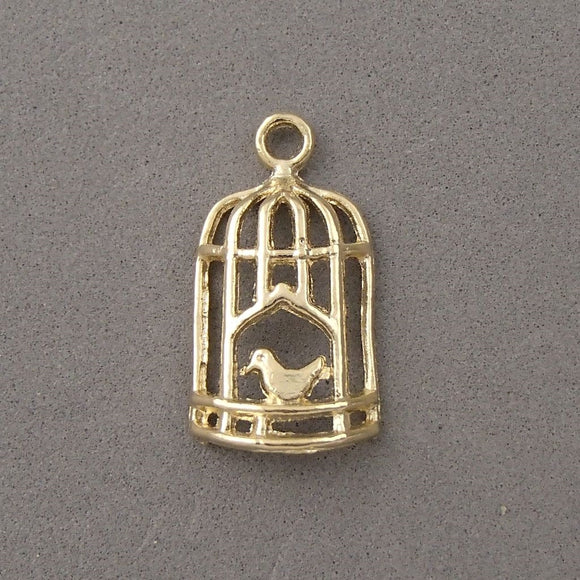 BD131 Cage 14k Gold Plated Charm