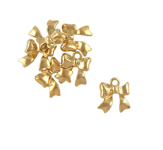 BD189 Ribbon Bow 14k Gold Plated Charm