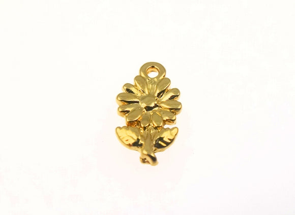 BD192 Flower 14k Gold Plated Charm