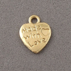 BD194 Made with Love 14k Gold Plated Charm