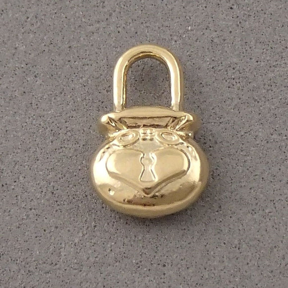 BD198 Lock 14k Gold Plated Charm