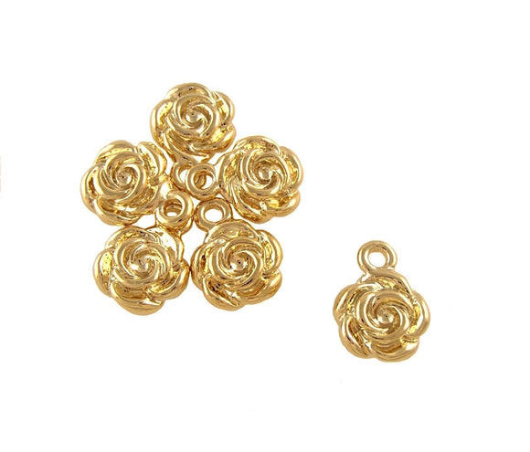 BD201 Rose 14k Gold Plated Charm