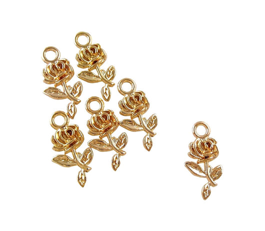 BD203 Rose 14k Gold Plated Charm
