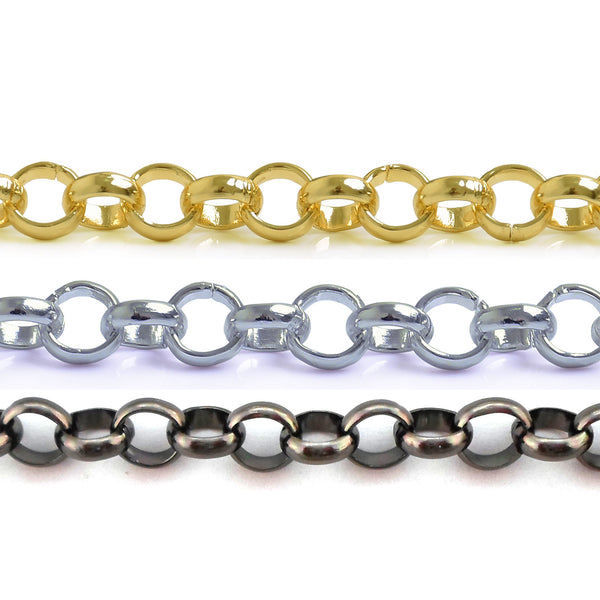 Rolo Belcher Round 6mm Aluminum Chain Gold, Silver or Black Nickel color, smooth, non tarnish, open links (CH-16309)