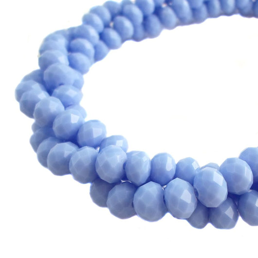 Glass Rondelle Beads C098 Light Sky Blue