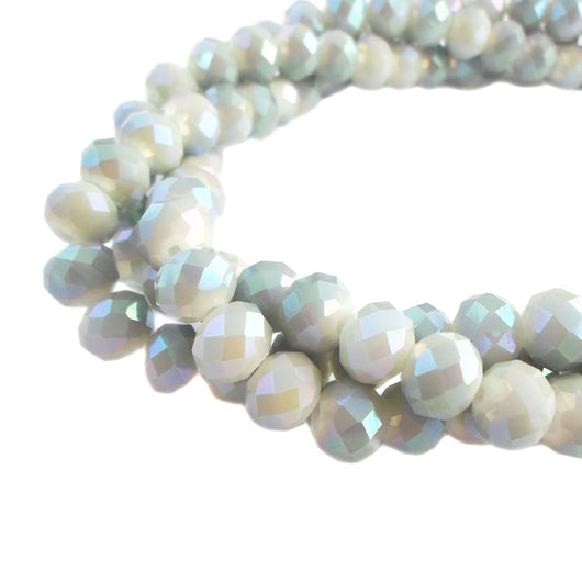 Glass Rondelle Beads AB C088 Gray Opaque