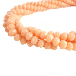 Glass Rondelle Beads E069 Salmon Matte