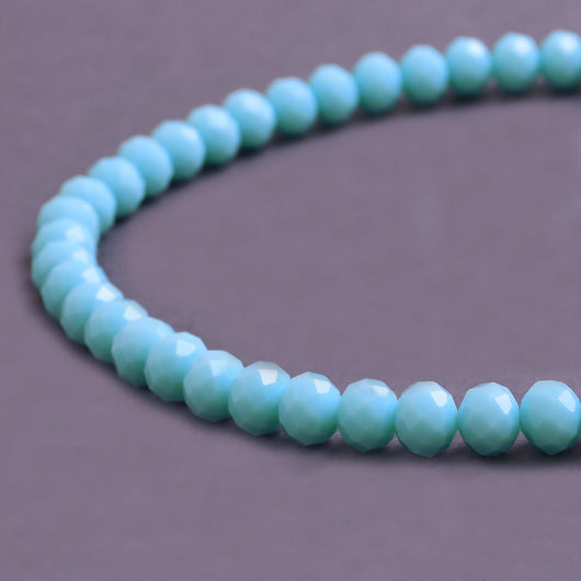 Glass Rondelle Beads D152 Cyan Blue Opaque