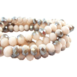 Glass Rondelle Beads AB C080 Multicolored Beige Gray