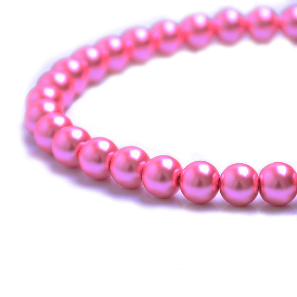 Glass Pearl Beads C06 Dark Pink