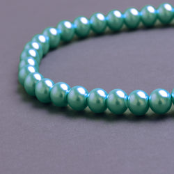 Glass Pearl Beads C17 Aqua Blue