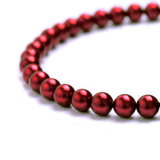 Glass Pearl Beads C23 Red