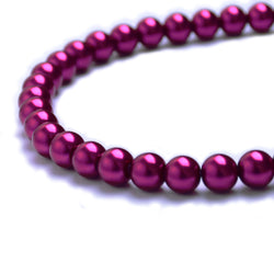 Glass Pearl Beads C33 Fuchsia
