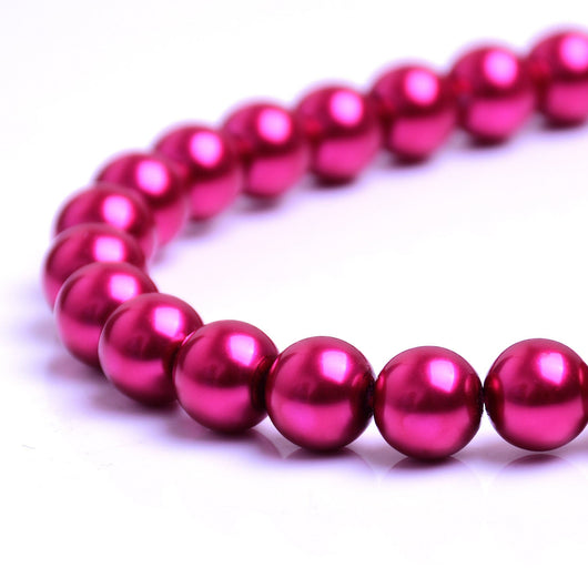 Glass Pearl Beads C43 Cherry Red
