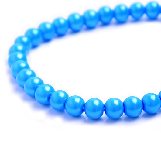 Glass Pearl Beads C46 Deep Sky Blue