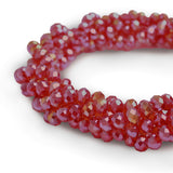 Glass Rondelle Beads AB C007 Red