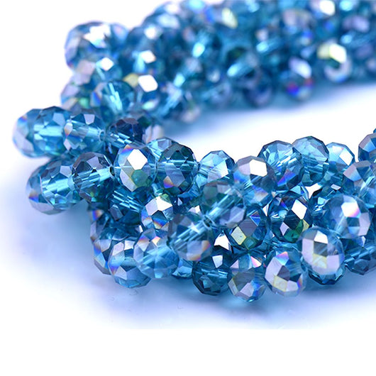 Glass Rondelle Beads AB C104 Montana Blue