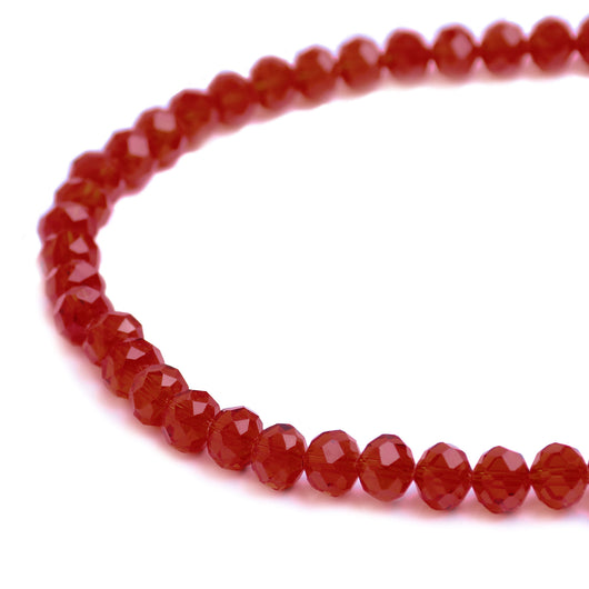 Glass Rondelle Beads C007 Red
