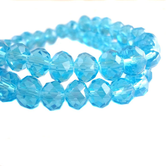Glass Rondelle Beads C018 Sky Blue