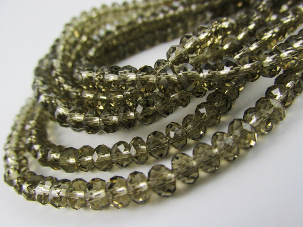 Glass Rondelle Beads C024 Smoky Quartz