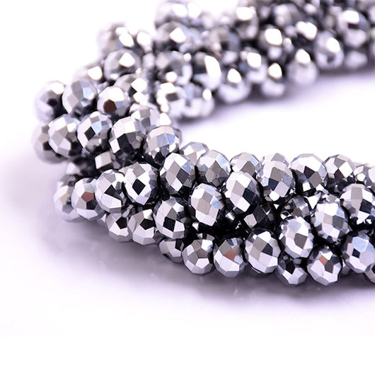 Glass Rondelle Beads C034 Silver