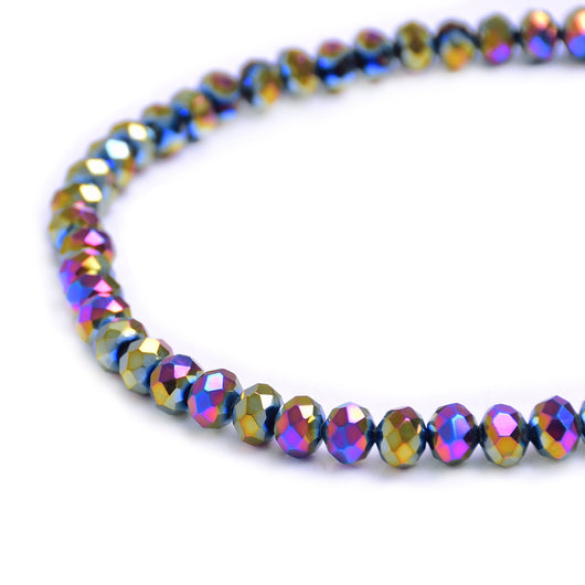 Glass Rondelle Beads C038 Rainbow Metallic