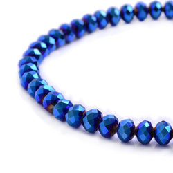 Glass Rondelle Beads C039 Metallic Blue