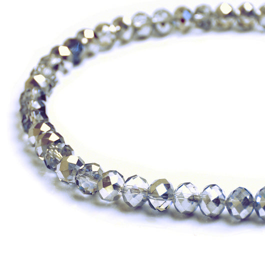Glass Rondelle Beads C041 Clear Silver