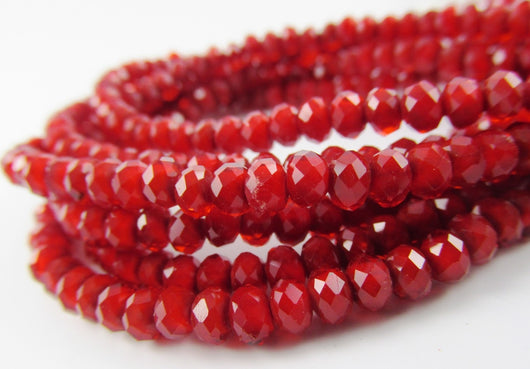 Glass Rondelle Beads C044 Red Opaque