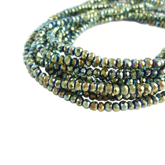 Glass Rondelle Beads C058 Green Metallic