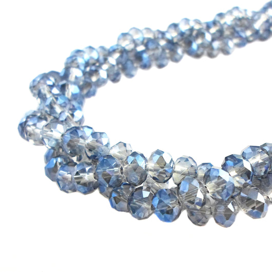 Glass Rondelle Beads C060 Blue Clear