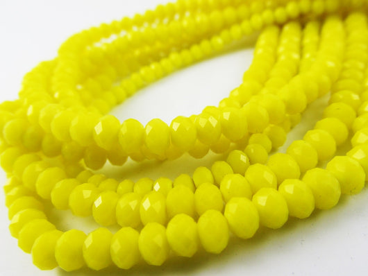 Glass Rondelle Beads C073 Yellow Opaque