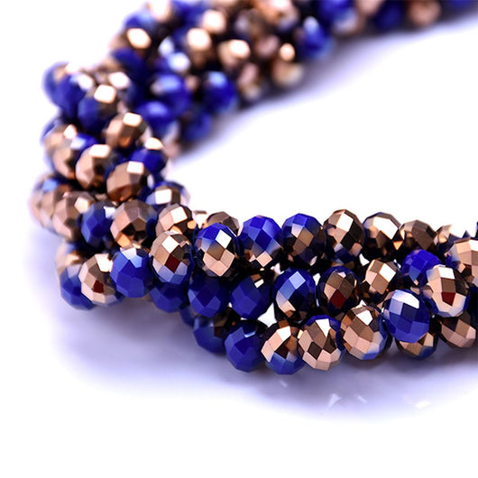 Glass Rondelle Beads D114 Cobalt Blue Copper