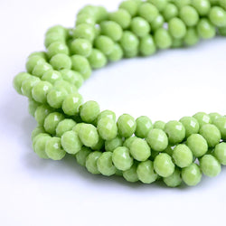 Glass Rondelle Beads E081 Green Matte