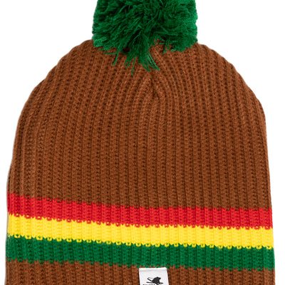 Flyin Ryan Pom Beanie - Rasta Brown