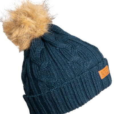 Women's Trapper Pom Beanie - Navy