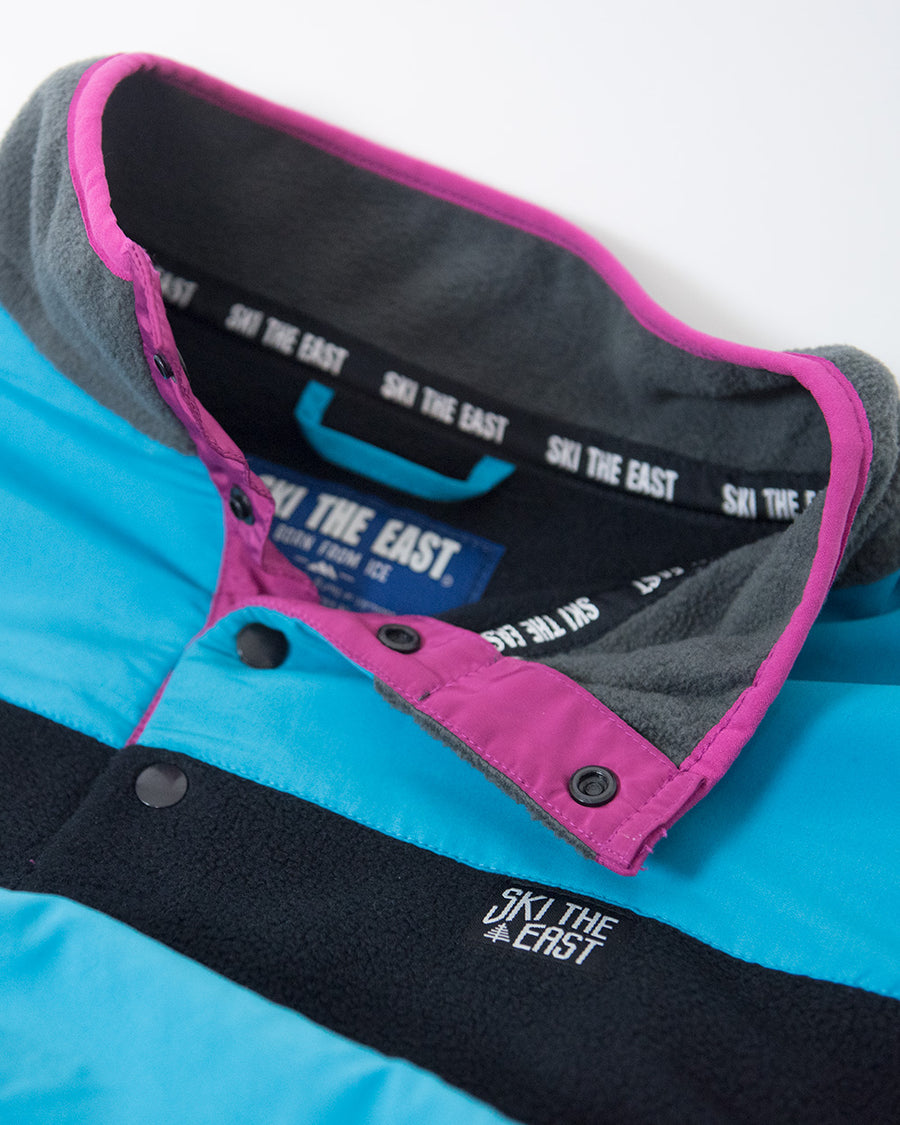 Womens Low-Fi Snap Fleece - Black/Ice Blue