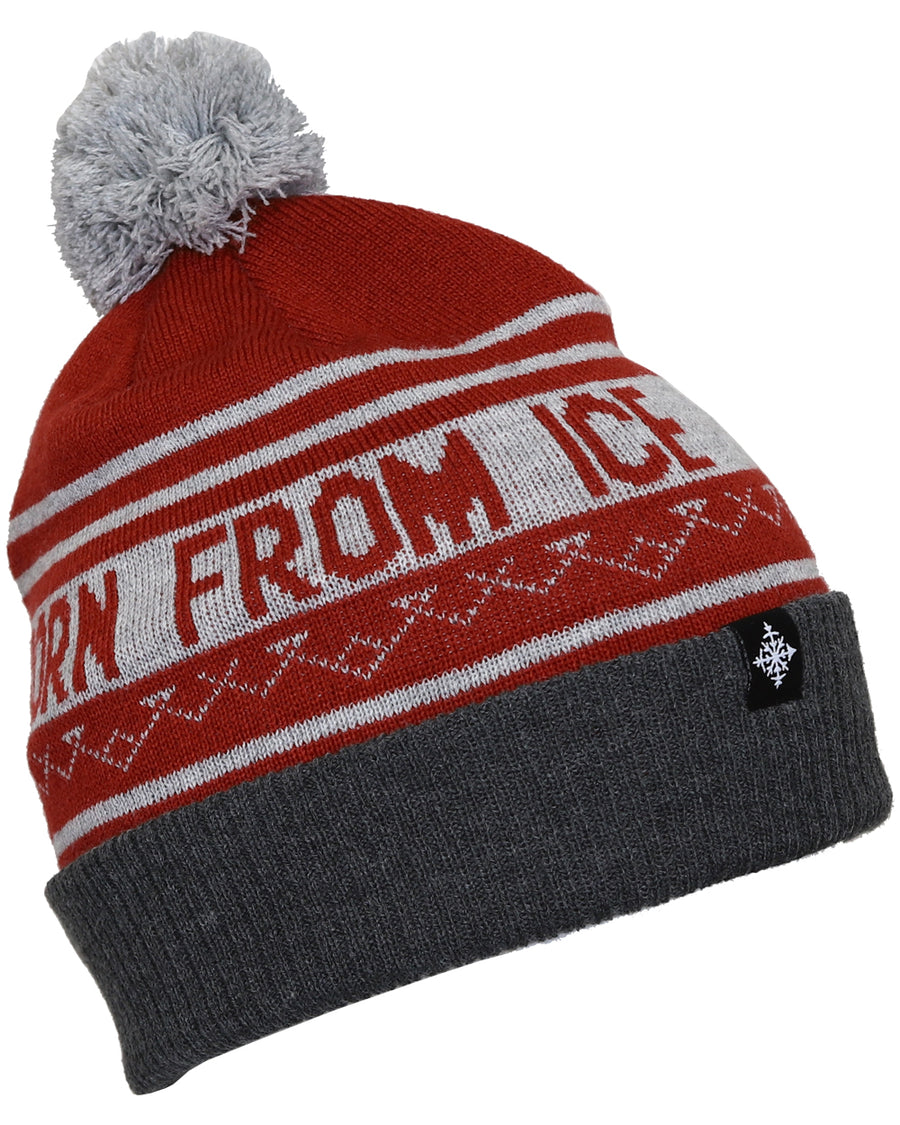 Born From Ice Pom Beanie - Brick
