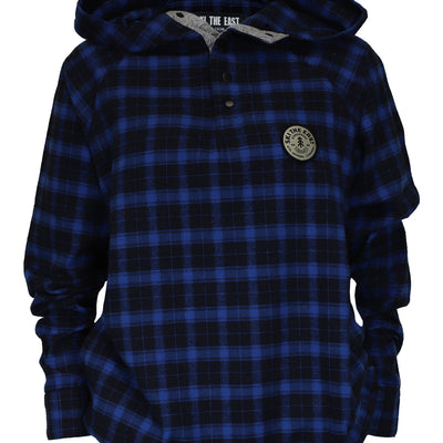 Women's Malo Pullover Hooded Snap Flannel - Navy