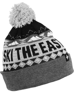 Powder Day Pom Beanie - Black/Gray