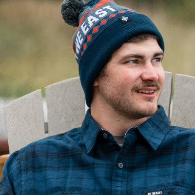 Powder Day Pom Beanie - Deep Blue/Stone